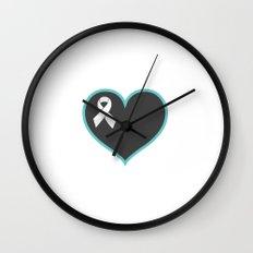 Cancer Ribbon Heart Wall Clock