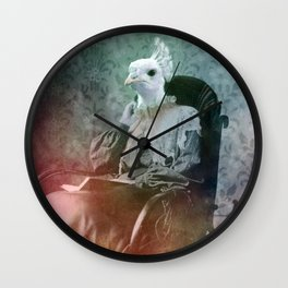 White Peacock Wall Clock