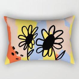 Black Flower Rectangular Pillow