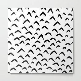Black and white hand drawn doodles. Minimalist abstract chevron. Funny bird bohemian. Metal Print