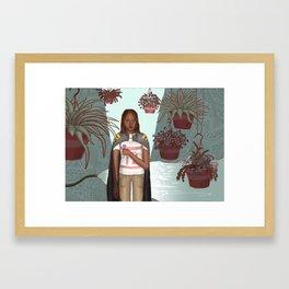 Girl with Plants Framed Art Print