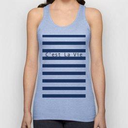 C'est La Vie - Blue White Stripes Unisex Tank Top