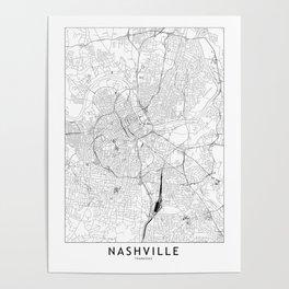 Nashville White Map Poster