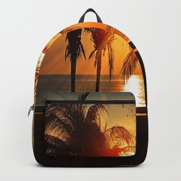 Tropical Summer sunset at a Beach with palms Backpack
