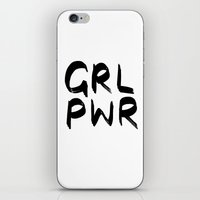 cactei iPhone & iPod Skins featuring GRL PWR  by ☿ cactei ☿