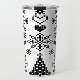 Christmas Cross Stitch Embroidery Sampler Black And White Travel Mug