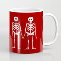 skeleton Mugs featuring Skeleton by Emma Harckham