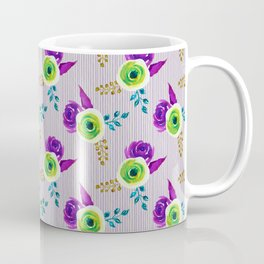 Fearless - bold floral watercolor pattern with stripes Coffee Mug