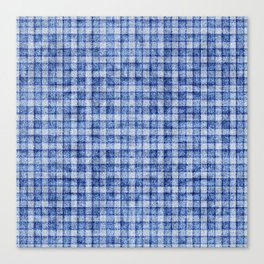 Blue Gingham Velvety Faux Terry Toweling Canvas Print