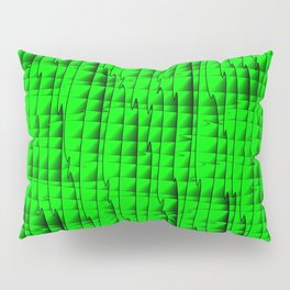 Square luminous curved stripes with imitation of the bark of a green tree trunk. Pillow Sham