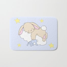 Floppy Ears Woodland Baby Bunny Sleeping on Cloud in Starry Night Sky Bath Mat