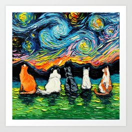 Starry Cats Art Print