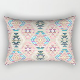 Woven Textured Pastel Kilim Pattern Rectangular Pillow