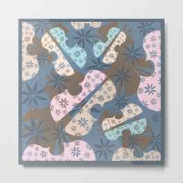 Flower Cello Violin Viola Pattern in blues and pinks Metal Print