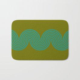 groovy minimalist pattern aqua waves on olive Bath Mat