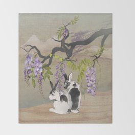 Two Rabbits Under Wisteria Tree Throw Blanket