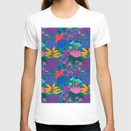 Psychedelic Jungle Garden in Pond Teal T-shirt
