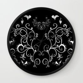 Abstract floral ornament in white color Wall Clock