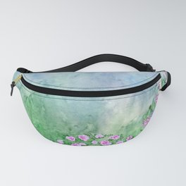 Garden Arbor with Pink and Laveder Flowers Fanny Pack