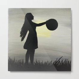 Sunset Girl Metal Print