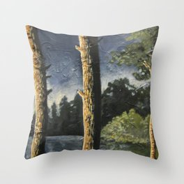Lake Woodsman View Throw Pillow