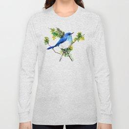 Mountain Bluebird, blue bird, art design blue green cottege Long Sleeve T-shirt