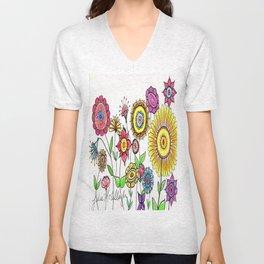 Bright Flowers Unisex V-Neck