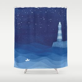Lighthouse & the paper boat, blue ocean Shower Curtain