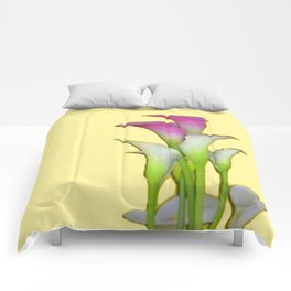 PURPLE & WHITE CALLA LILIES FLORAL YELLOW ART Comforters