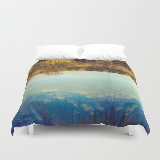 River reflection Duvet Cover