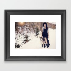 Snow Queen & her Wolf Framed Art Print
