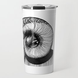 Hand Drawn Black and White Bighorn Sheep Portrait Travel Mug