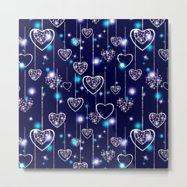 Openwork hearts on bright blue background. Metal Print