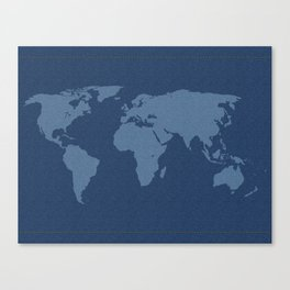 Denim Map Canvas Print