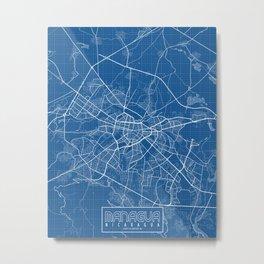 Managua City Map of Nicaragua - Blueprint Metal Print