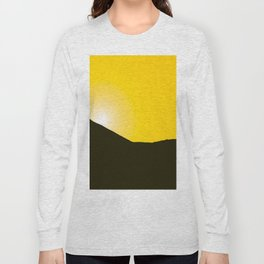 Mountain silhuette - sunrise sky - black rockymountain on yellow background - #Society6 #buyart Long Sleeve T-shirt