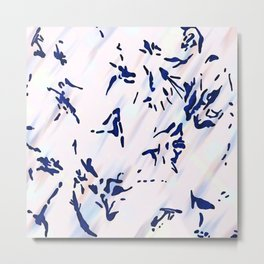 Blue Splatter Painting Pattern Metal Print