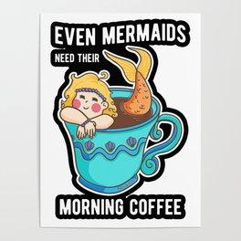 Coffee Mermaid Mugs Mermaid woman Poster