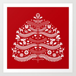 Scandinavian Folk Art Christmas Tree Art Print