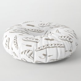 Bread print. Hand-drawn bread baguettes on white background. Floor Pillow