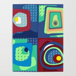 Memphis style abstract art Poster