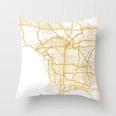 LOS ANGELES CALIFORNIA CITY STREET MAP ART Throw Pillow