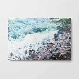 Waves lap at the shore - painting - art gift - abstract Metal Print