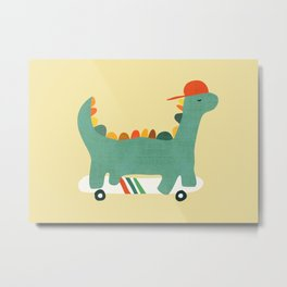 Dinosaur on retro skateboard Metal Print