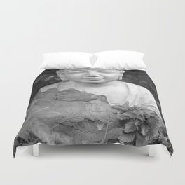 Buddha back and white Duvet Cover