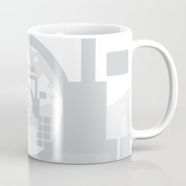 Light Grey digital drawing of a 4x4 adventure vehicle in the mountains Coffee Mug