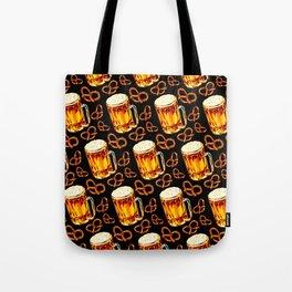 Beer & Pretzel Pattern - Black Tote Bag