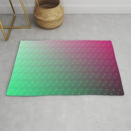 Green to Red Ombre Wavy Darts Four-Color Gradient Pattern Rug