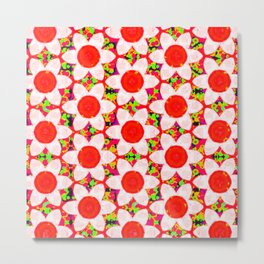 Neon Chunky Flowers Red Metal Print