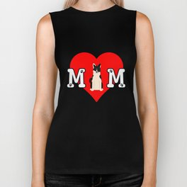 Dog Mom Heart Paw Prints Russo European Laika Biker Tank